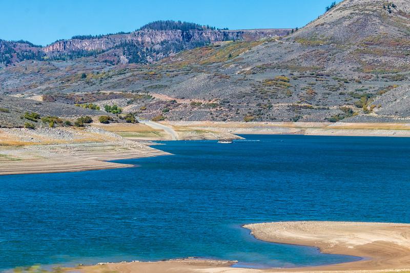 Blue Mesa Reservoir along US 50 in Colorado, between Montrose and Gunnison.