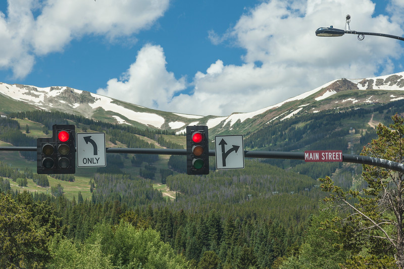 Traffic lights on Main Street in Breckenridge, Colorado.