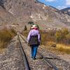 Nolan walking on railroad tracks at Silverton, Colorado.