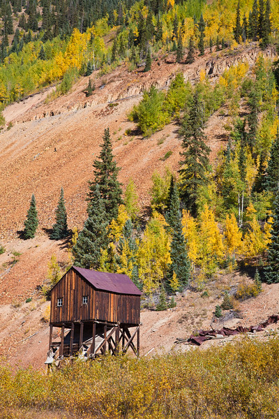 Autumn color along the Million Dollar Highway (US 550) portion of the San Juan Skyway Scenic Byway in Colorado. The San Juan Skyway is an incredibly beautiful loop of designated Colorado State Highways covering 236 miles in Southwest Colorado.