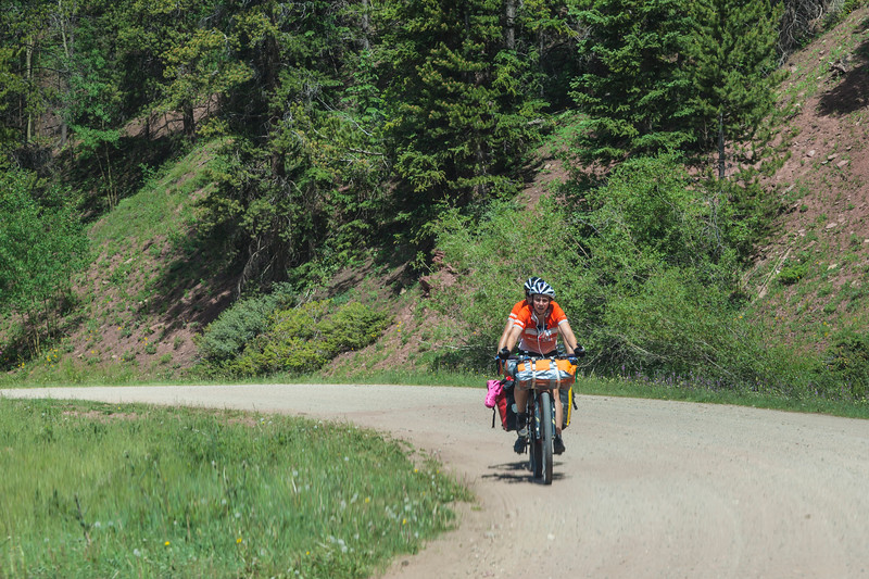 Bicycle riders on road to Boreas Pass in Colorado.