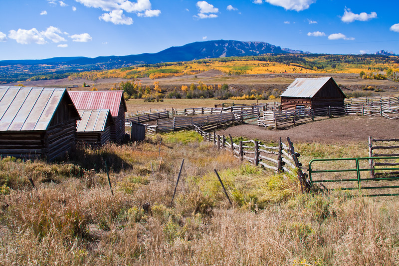Ranching and farming in Colorado with autumn color with Aspens turning - in view of the Castles (mountains) along the Ohio Pass road between Gunnison and Crested Butte, Colorado. The summit of Ohio Pass is 10076 feet and much of the road is unpaved and is closed in winter.
