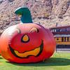 Halloween Pumpkin Balloon at the Durango Train Depot for the Durango and Silverton Narrow Gauge Railroad.