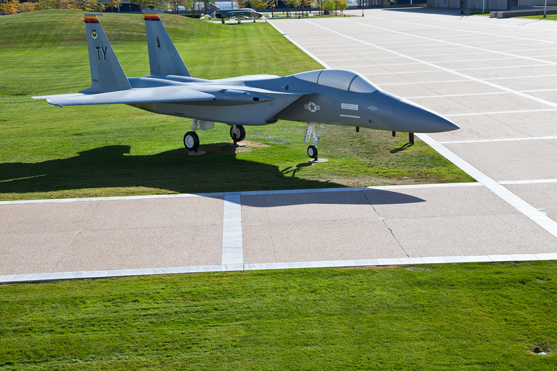 Fighter Jet in Cadet area at United States Air Force Academy in Colorado Springs, Colorado.