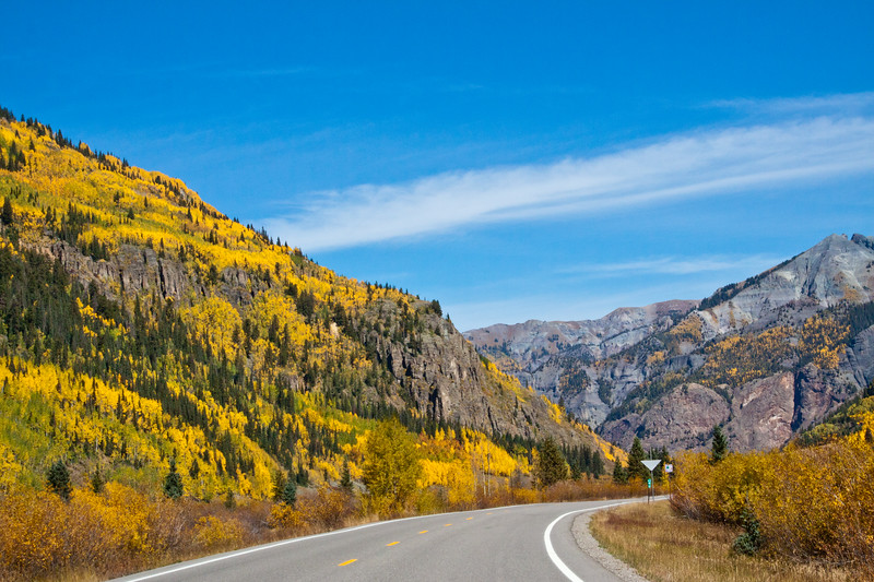 Autumn color along the Million Dollar Highway (US 550) portion of the San Juan Skyway Scenic Byway in Colorado. The San Juan Skyway is an incredibly beautiful loop of designated Colorado State Highways covering 236 miles in Southwest Colorado. The portion of US 550 between Silverton and Ouray is most dramatic as it passes over Red Mountain at over 11000 feet.