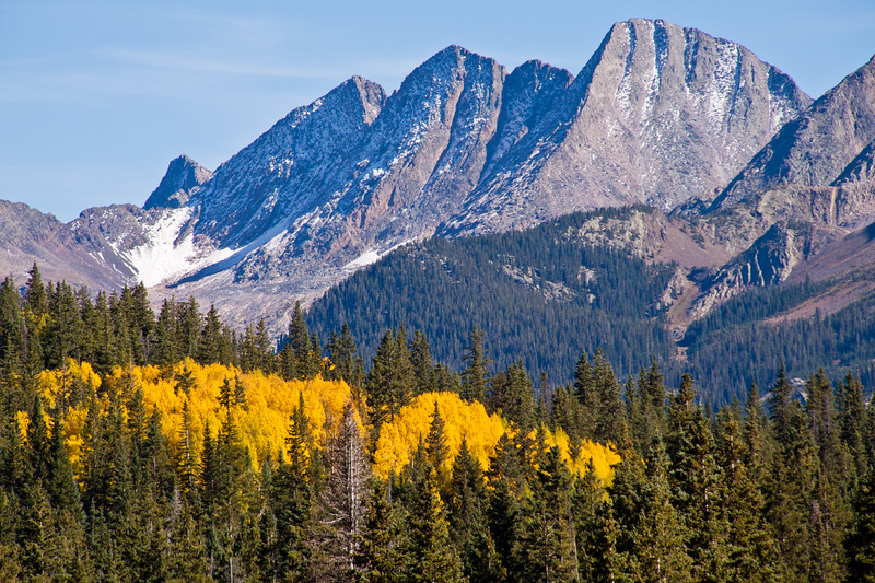 """Autumn color with Aspen tree leaves turning yellow and orange on US 550, the """"Million Dollar Highway,"""" in Colorado. This part of US 550 is included in the San Juan Skyway Scenic Byway in southwestern Colorado, passing through the San Juan Mountains."""