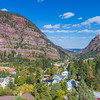 Ouray Colorado overlook from the US 550 scenic highway in autumn