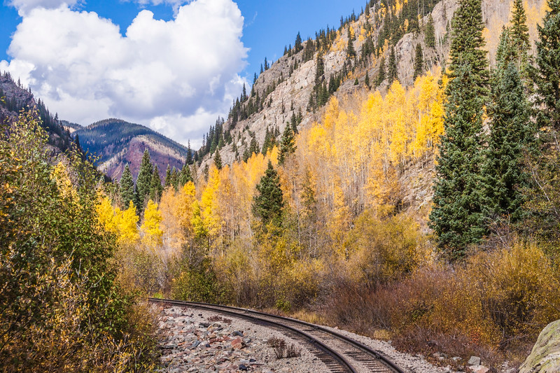 Durango & Silverton Narrow Gauge Railroad Train Tracks with autumn color.