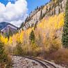 Durango & Silverton Narrow Gauge Railroad Train Tracks with autumn color.