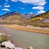 Autumn color and the Animas River at Silverton, Colorado, in the San Juan Mountains.