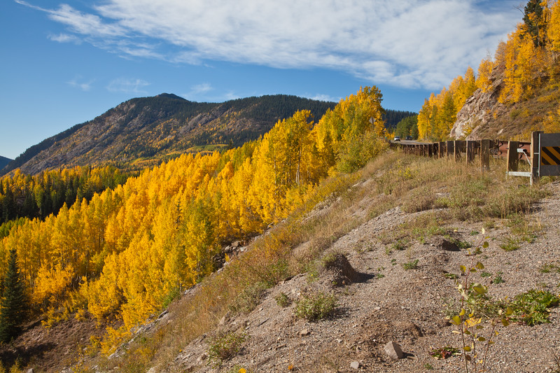 Autumn color near Molas Pass along the Million Dollar Highway (US 550) portion of the San Juan Skyway Scenic Byway in Colorado. The San Juan Skyway is an incredibly beautiful loop of designated Colorado State Highways covering 236 miles in Southwest Colorado.