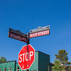 Stop sign and street signs in Breckenridge, Colorado.