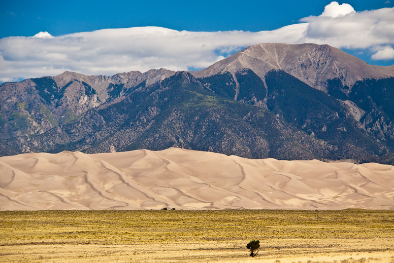 Great Sand Dunes National Park in Colorado with the Sangre de Cristo mountains visible behind the Sand Dunes. These are the tallest sand dunes in North America, spread over 30 square miles at altitudes above 8200 feet.