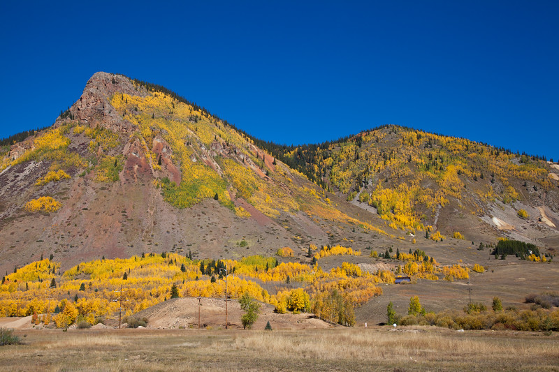 Autumn color at Silverton Colorado, on the Million Dollar Highway (US 550) portion of the San Juan Skyway Scenic Byway in Colorado. The San Juan Skyway is an incredibly beautiful loop of designated Colorado State Highways covering 236 miles in Southwest Colorado.