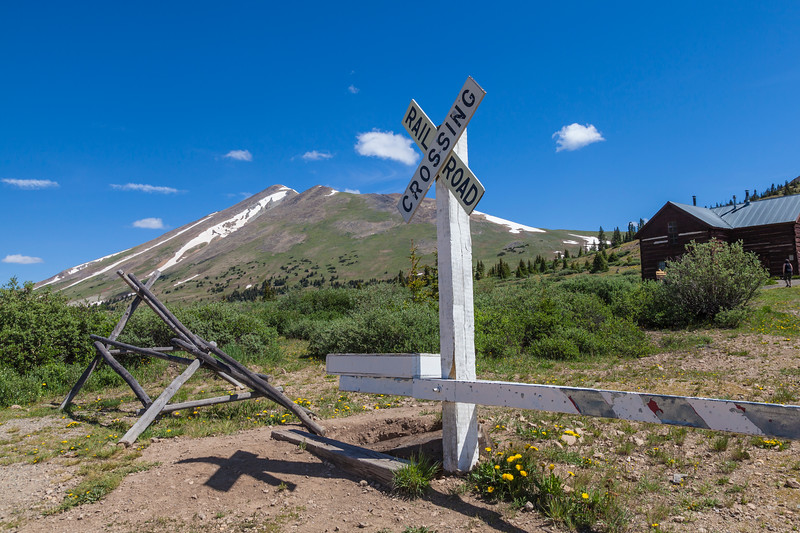 View from Boreas Pass Road in Colorado. The Denver, South Park, and Pacific Narrow Gauge Railroad once served this area and historical buildings and equipment are found in a park at the pass summit. The road crosses the Continental Divide at an elevation of 11, 482.