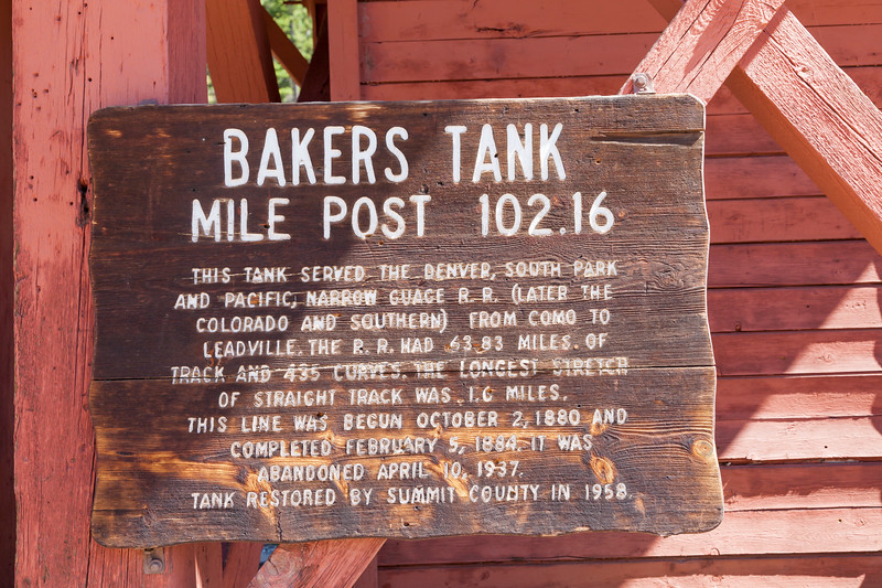 Bakers Tank Water Tower at Mile Post 102.16 of the Denver, South Park and Pacific Narrow Gauge Railroad . Abandoned tank seen on Boreas Pass road in Colorado.