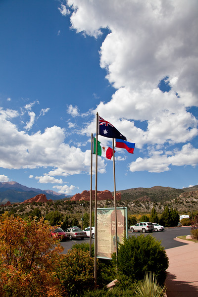 Colorado and historic flags at Garden of the Gods public park in Colorado Springs, Colorado.