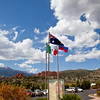 Colorado and historic flags at Garden of the Gods public park in Colorado Springs, Colorado.