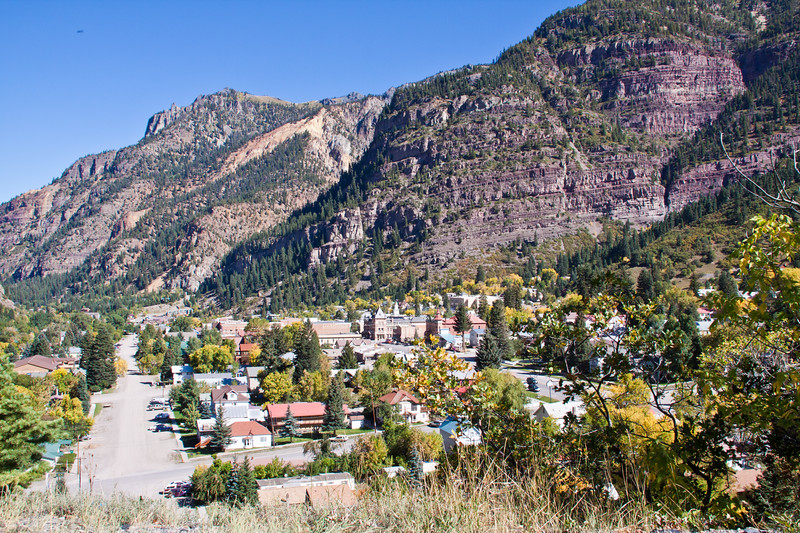 Ouray, Colorado, from the Million Dollar Highway (US 550) portion of the San Juan Skyway Scenic Byway.