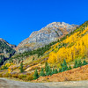Autumn color and Aspen Trees along the Million Dollar Highway, US 550, in Colorado.