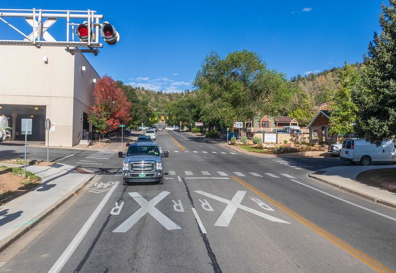 Durango and Silverton Narrow Gauge Railroad crossings in Durango, Colorado.