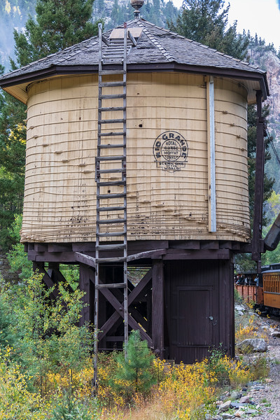 Historic Railroad Water Tower along the Durango and Silverton Narrow Gauge Railroad between Durango and Silverton Colorado.