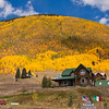 Autumn Color with Aspens turning yellow and orange at the National Historic District town of Silverton, Colorado.
