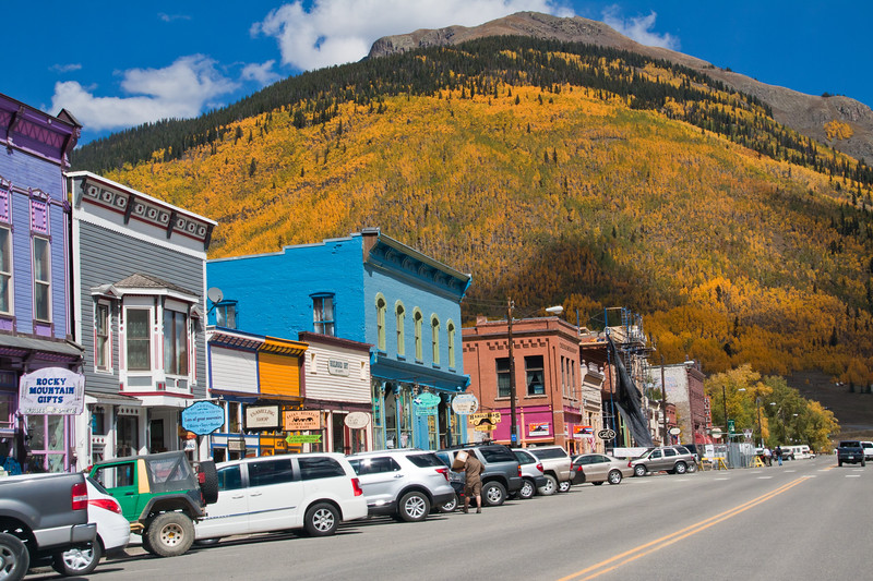 Colorful historic buidlings in the old mining town of Silverton, Colorado, which is a designated National Historic Landmark District. The town is presently completely dependent on tourism.