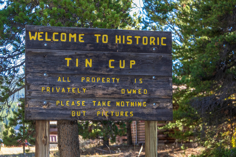 Historic Tin Cup community in Colorado, rural area with limited access in winter.