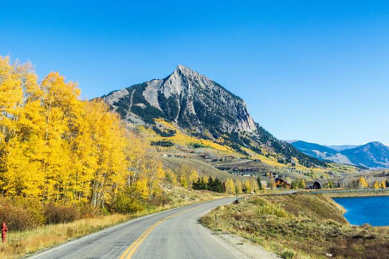 Crested Butte Mountain (or Mount Crested Butte) in Colorado in autumn.