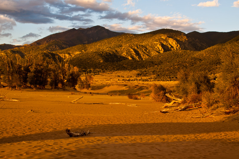 Great Sand Dunes National Park in Colorado at Sunset with strong wind blowing as storm clouds gather. These sand dunes are the tallest dunes in North America.