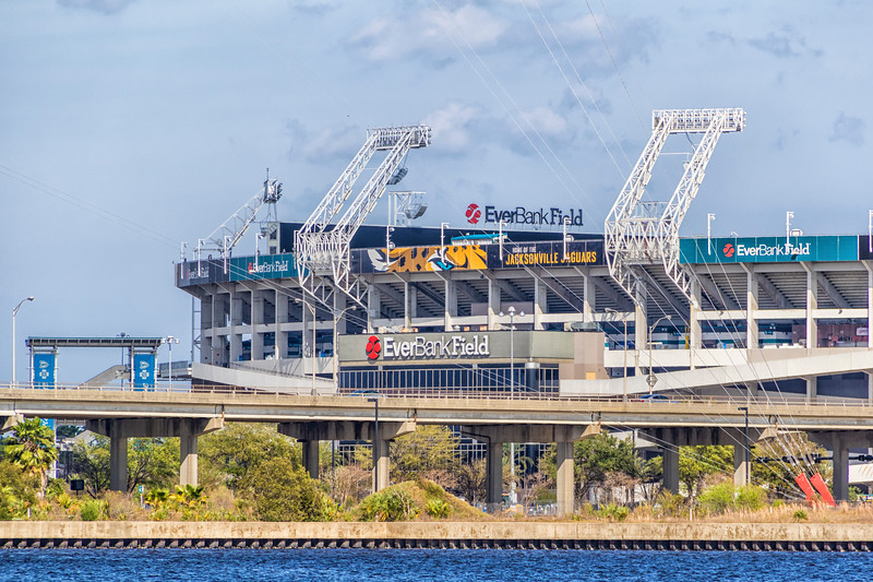 Everbank Field stadium (NFL team Jaguars) on St Johns River in downtown Jacksonville, Florida.