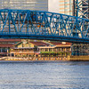 Jacksonville Landing and Main Street Bridge over the St Johns River in downtown Jacksonville, Florida.