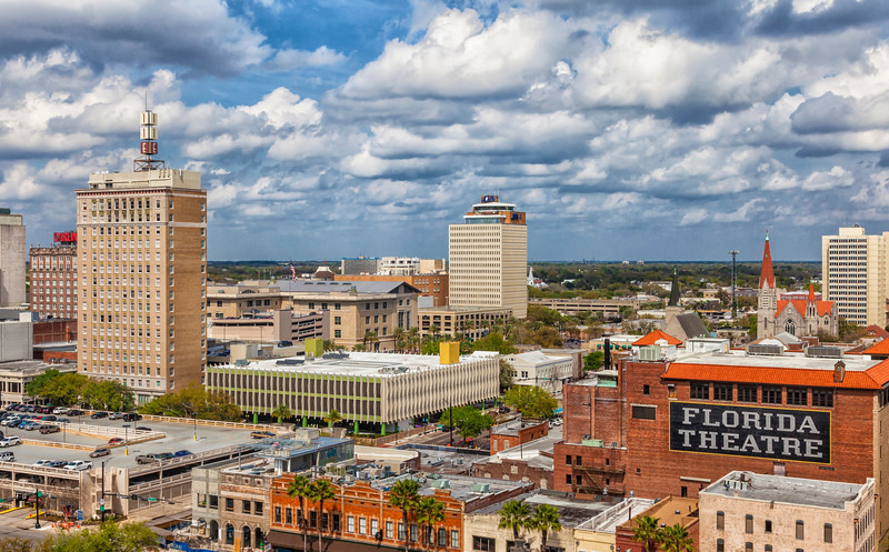 Florida Theatre and Basilica of the Immaculate Conception in Downtown Jacksonville, FLorida.