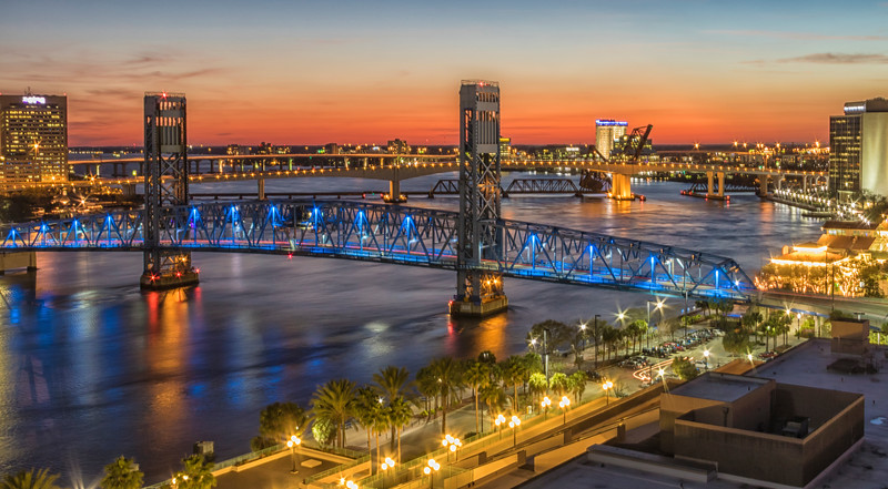 Downtown Jacksonville, Florida on the St Johns River at night.