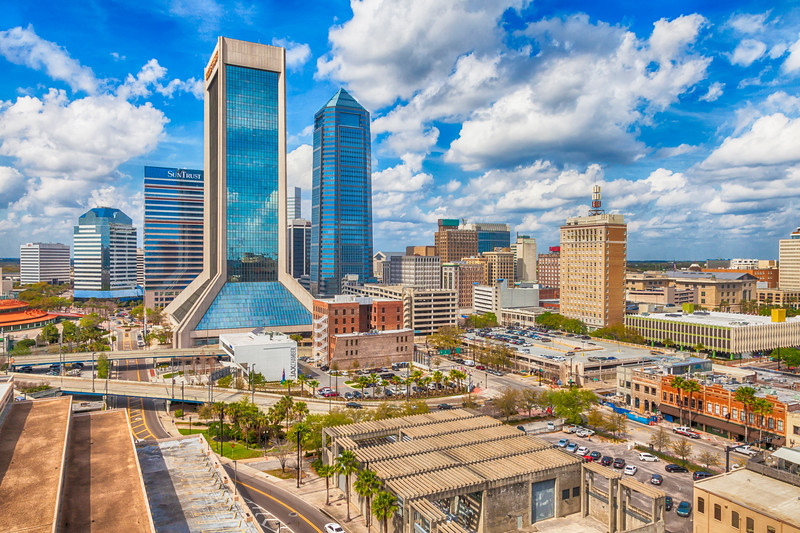 Modern Skyscrapers in Downtown Jacksonville, FLorida.