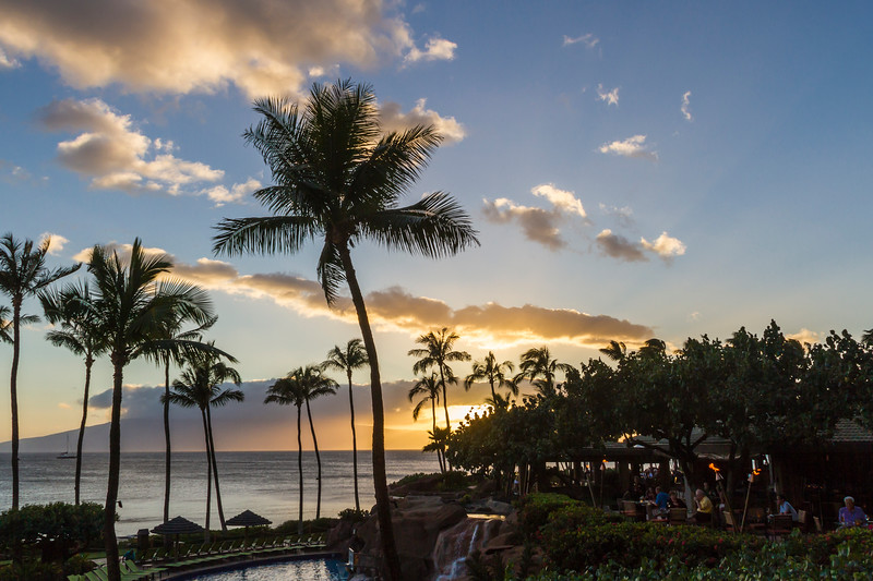 Hyatt Regency luxury hotel and resort on Kaanapali Beach on the west coast of the island of Maui in Hawaii.