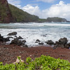Kaihalulu Red Sand Beach near the village of Hana on the famous Road to Hana on the island of Maui in Hawaii.
