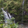 Waikani Falls or Three Bears Falls, one of the many waterfalls along the Road to Hana on the island of Maui in Hawaii.