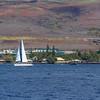 Sailboat off the coast of the island of Maui in Hawaii.