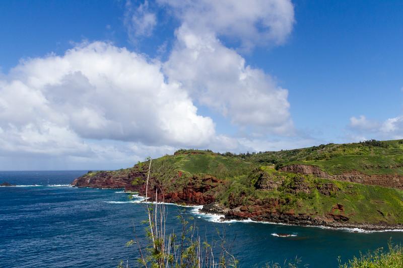 Red cliffs on western coastline of Maui in Hawaii.