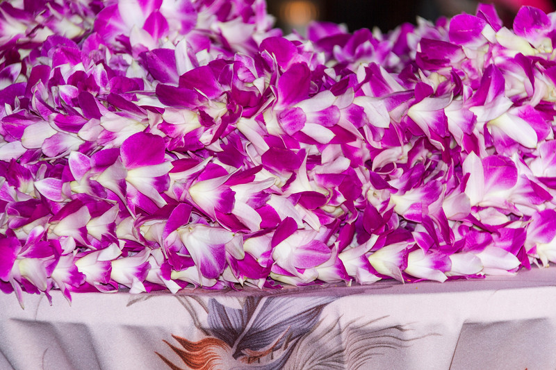 Wecome Leis given to tourists arriving at resort hotel on Maui in Hawaii.
