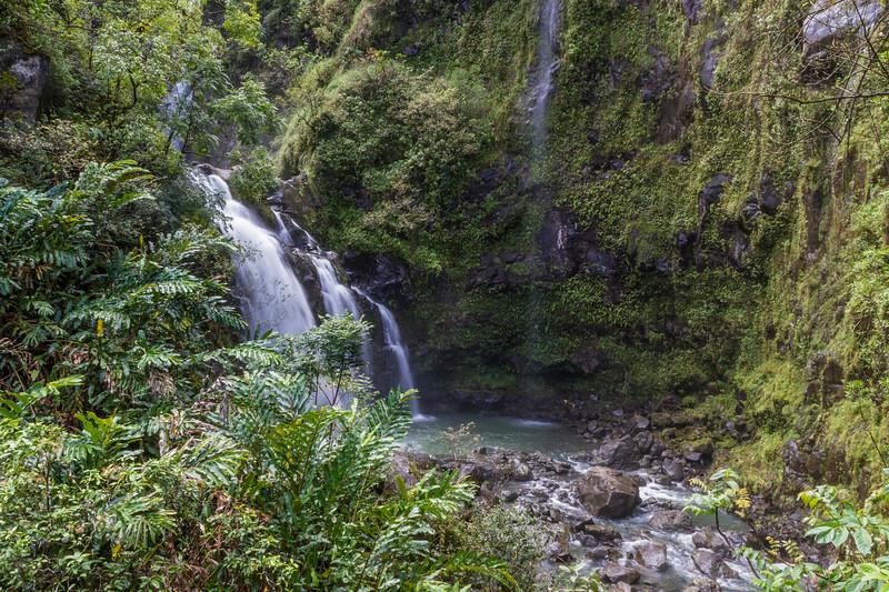 Waikani Falls or Three Bears Falls, one of the many waterfalls along the Road to Hana on the island of Maui in Hawaii.