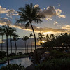 Sunset view at the Hyatt Regency luxury hotel and resort on the island of Maui in Hawaii.