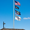 Flags on Idaho welcome station and Snake River Overlook park, on scenic highway 26 near Wyoming border.