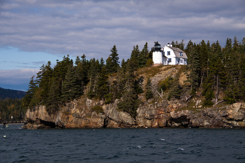 Bear Island Lighthouse, on a small island just south of Mount Desert Island in Maine, was established in 1839, and was restored and relighted in 1989.