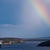 Rainbow and Cruise Ship at Bar Harbor on Mount Desert Island, Maine.