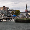 Salem Harbor in Salem, Massachusetts. This area, including Derby Wharf, and Derby Wharf Lighthouse, is part of the Salem Maritime National Historic Site.