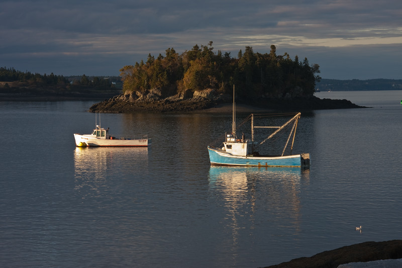 Fishing Boats in Lubec Harbor and Johnson's Bay at Lubec, Maine.