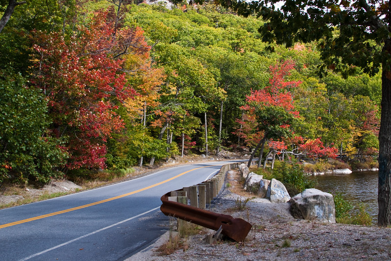 Autumn Color along roads in northeast Maine in October. Scenic highway north of Bar Harbor to Lubec, Maine, captures the incredible colors of Maine in early Autumn.